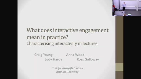 """Thumbnail for entry """"What does interactive engagement mean in practice? Characterising interactivity in lectures."""""""