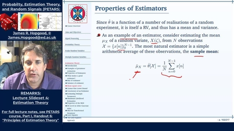 Thumbnail for entry Topic 42: Introduction to Estimation Theory (PETARS, Chapter 6)