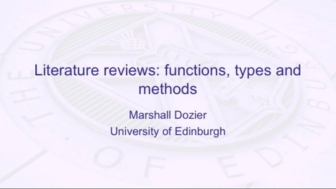 Thumbnail for entry Literature reviews: functions, types and methods