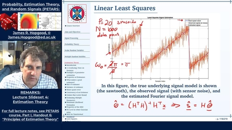 Thumbnail for entry Topic 50: Linear Least Squares Estimation (PETARS, Chapter 6)