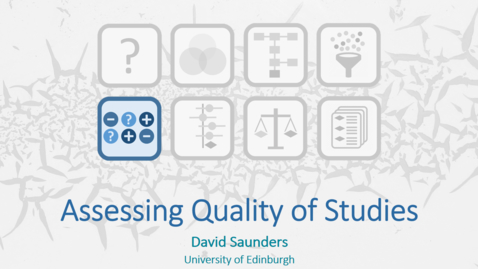 Thumbnail for entry Assessing Quality of Studies - Dave Saunders