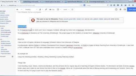 Thumbnail for entry Editing Wikipedia using Visual Editor: Part 1.1 Adding Headings