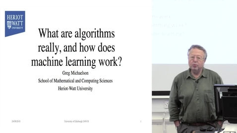 "Thumbnail for entry DE Seminar | Greg Michaelson ""What are algorithms, and how does machine learning work?"""