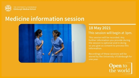Thumbnail for entry MBChB online information session - 2021