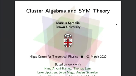 Thumbnail for entry Marcus Spradlin - Cluster Algebras and SYM Theory