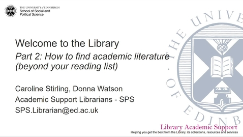 Thumbnail for entry Welcome to the Library, Part 2: How to find academic literature and go beyond your reading list (MHO students)
