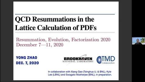 Thumbnail for entry REF2020: Yong Zhao- QCD resummations in the lattice calculation of PDFs