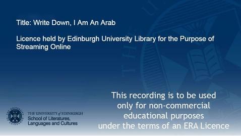Thumbnail for entry Write Down, I Am An Arab