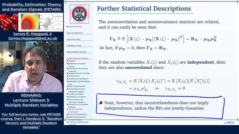 Thumbnail for entry Topic 36:  Further Statistical Descriptors (PETARS, Chapter 5)