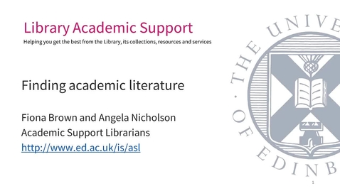 Thumbnail for entry (IAD-PGR) Finding Academic Literature (Science&Engineering)
