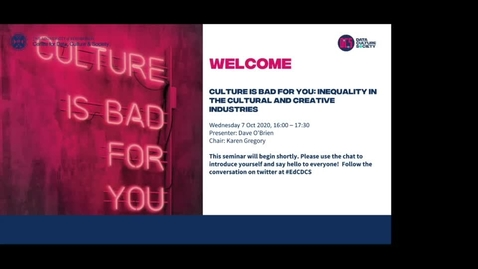 Thumbnail for entry Culture Is Bad For You: Inequality in the Cultural and Creative Industries