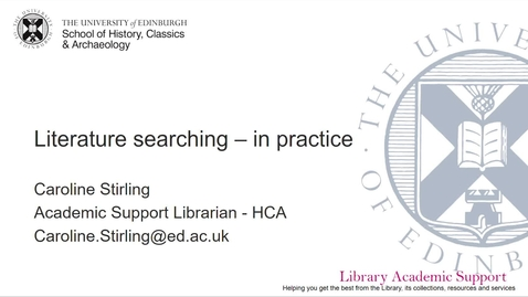 Thumbnail for entry Literature searching: in practice - HCA (online)