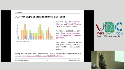 Thumbnail for entry Scholia: a tool to handle scientific bibliographic information in Wikidata - Finn Årup Nielsen at WikidataCon 2017