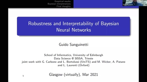 Thumbnail for entry 26 March 2021 - Guido Sanguinetti (SISSA, Trieste, Italy): Robustness and interpretability of Bayesian neural networks