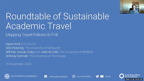 Thumbnail for entry Roundtable of Sustainable Academic Travel: Mapping Travel Policies in FHE - November 2020