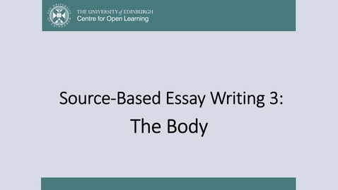 Thumbnail for entry The Essay Body