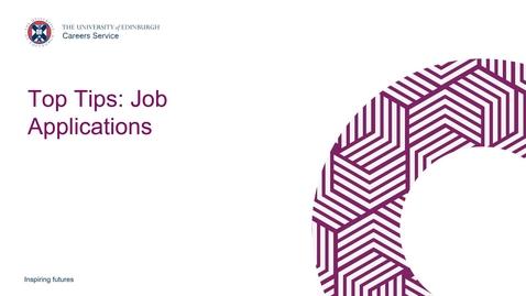 Thumbnail for entry Top Tips: Job Applications