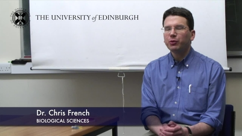 Thumbnail for entry Chris French - Biological Sciences- Research In A Nutshell - School of Biological Sciences -14/11/2012