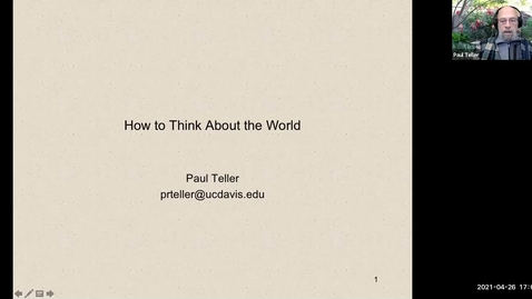 Thumbnail for entry Perspectival Realism - Day 1 - Session 4 - Paul Teller - How to Think About the World