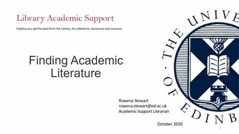 Thumbnail for entry IAD Finding Academic Literature - for CSE taught postgraduates