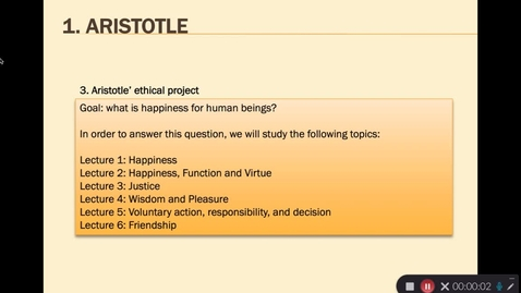 Thumbnail for entry Aristotle Lecture 1.2