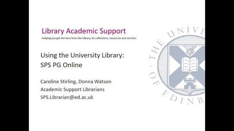 Thumbnail for entry Using the University Library (PG Online SPS) Sept 2020- Session 1