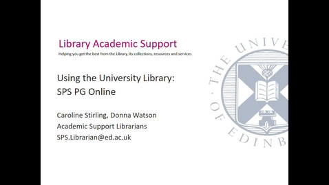 Thumbnail for entry Using the University Library (PG Online SPS) Sept 2020- Session 1
