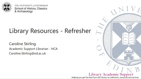 Thumbnail for entry Library resources refresher - HCA