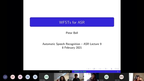 Thumbnail for entry ASR Lecture 9 part I