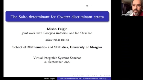 Thumbnail for entry The Saito determinant for Coxeter discriminant strata - Misha Feigin