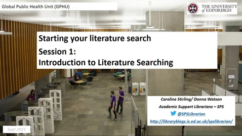 Thumbnail for entry GHPU: Introduction to Literature Searching (1)