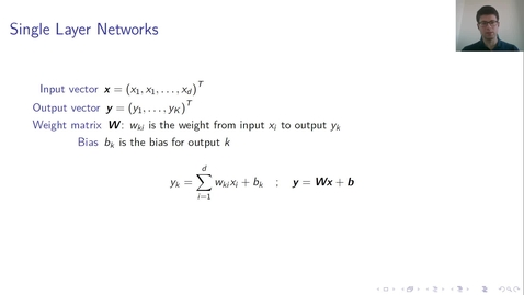 Thumbnail for entry MLP Lecture 01 - Clip 05 - Single Layer Networks 2
