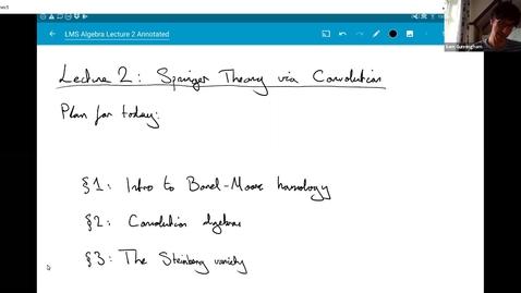 Thumbnail for entry The Springer correspondence talk 2 - Sam Gunningham