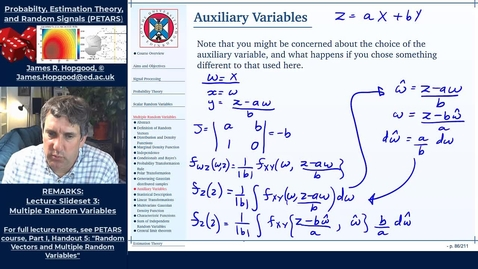 Thumbnail for entry Topic 33: Auxiliary Variables (PETARS, Chapter 5)