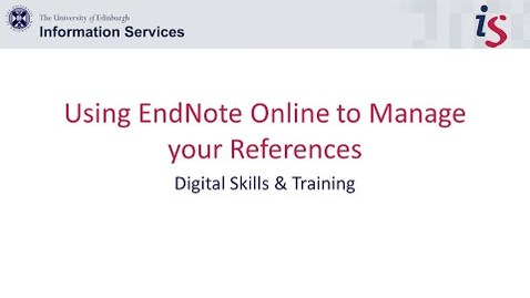 Thumbnail for entry Using EndNote Online to Manage your References