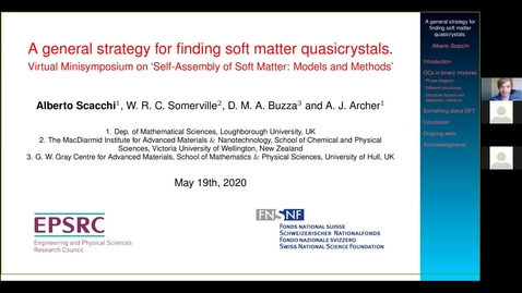Thumbnail for entry Alberto Scacchi Self-Assembly of Soft Matter 19 May 2020