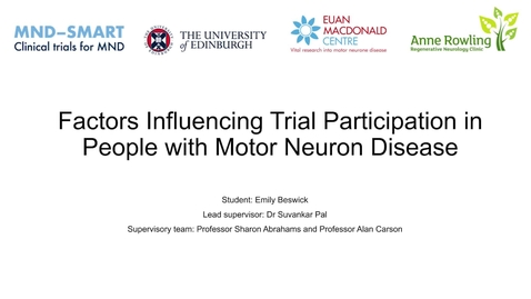 Thumbnail for entry Factors Impacting Trial Participation in People with MND (FIT-Participation-MND)