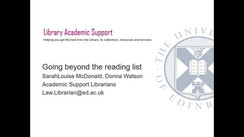 Thumbnail for entry Beyond Reading Lists- Law