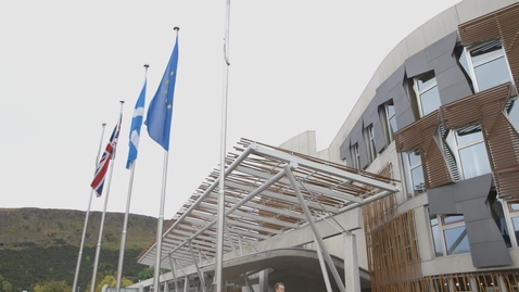 Thumbnail for entry Flags at the entrance to the Scottish Parliament