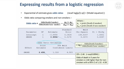 Thumbnail for entry 15. Logistic Regression Example – Assessing Risk Factors