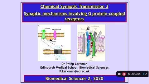 Thumbnail for entry BMS2: Chemical Synaptic Transmission 3 Part 1 Dr Phil Larkman