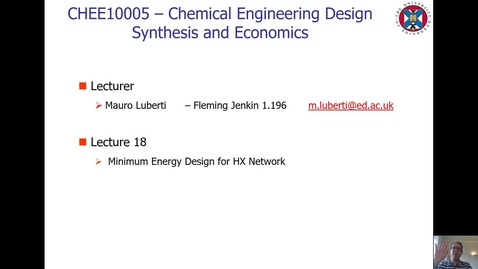 Thumbnail for entry Lecture 18 - Minimum Energy Design for HX Network