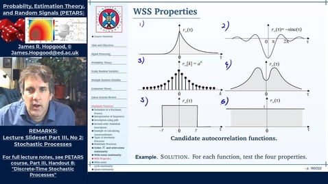 Thumbnail for entry Topic 63: Properties of Autocorrelation sequences  for WSS processes (PETARS, Chapter 8)