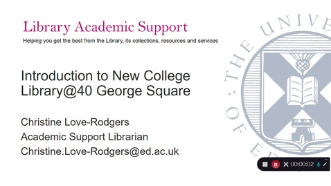 Thumbnail for entry Introduction to New College Library @ 40 George Square