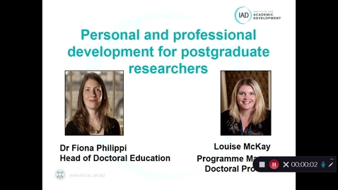 Thumbnail for entry Institute for Academic Development: support for postgraduate researchers 2020/21
