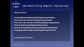 Thumbnail for entry [EDINA Labs] (De)?mystifying Regular Expressions