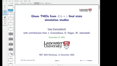 Thumbnail for entry REF2020: Vato Kartvelishvili- Attempting gluon TMD studies with Jpsi+gamma final state
