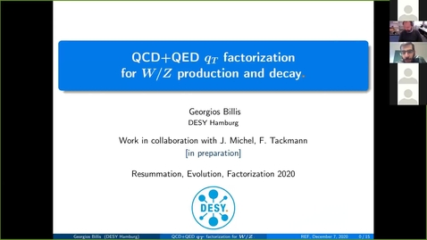 Thumbnail for entry REF2020: Georgios Billis- QCD+QED qT Factorization for Z/W production and decay