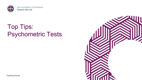 Thumbnail for entry Top Tips: Psychometric Tests