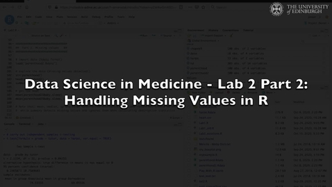 Thumbnail for entry Data Science in Medicine Lab 2: Handling Missing Values in R